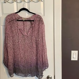 """Lucky Brand """"See-Through"""" Peasant Blouse"""